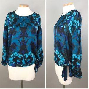 Dana Buchman Blue Silky Long Sleeve Blouse